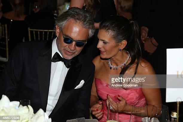 Andrea Bocelli and his wife Veronica attend the Celebrity Fight Night gala at Palazzo Vecchio during 2015 Celebrity Fight Night Italy benefiting the...