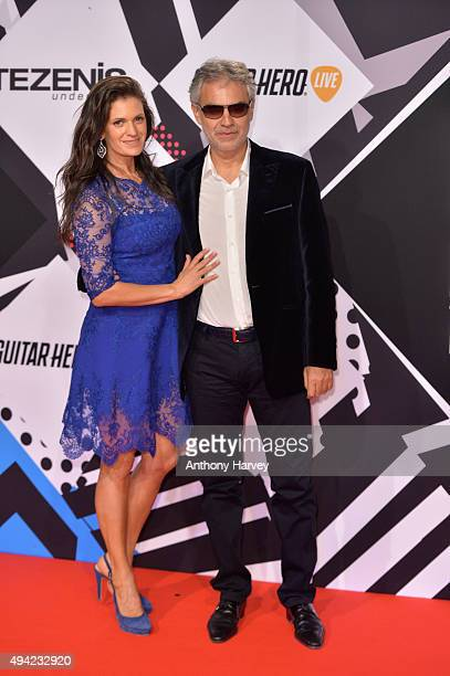 Andrea Bocelli and his wife Veronica Berti attend the MTV EMA's 2015 at the Mediolanum Forum on October 25 2015 in Milan Italy