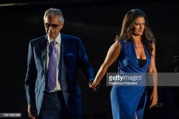 "Andrea Bocelli and his wife Veronica Berti attend the presentation of the show ""Il Virus Che Ci Rende Folli"" of Bernard- Henry Lévy at the..."
