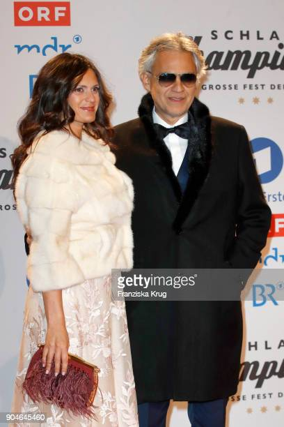 Andrea Bocelli and his wife Veronica Berti during the 'Schlagerchampions Das grosse Fest der Besten' TV Show at Velodrom on January 13 2018 in Berlin...