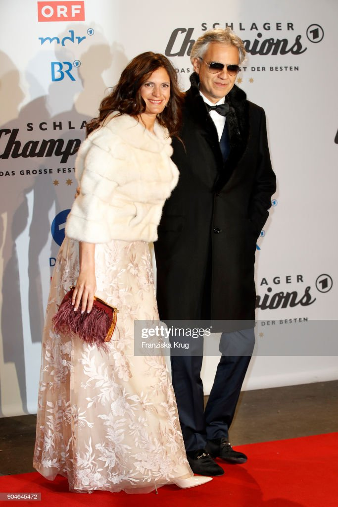 Andrea Bocelli (R) and his wife Veronica Berti during the 'Schlagerchampions - Das grosse Fest der Besten' TV Show at Velodrom on January 13, 2018 in Berlin, Germany.