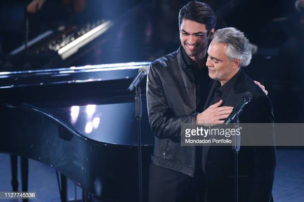 Andrea Bocelli and Matteo Bocelli at the first evening of the 69th Sanremo Music Festival Sanremo February 5th 2019