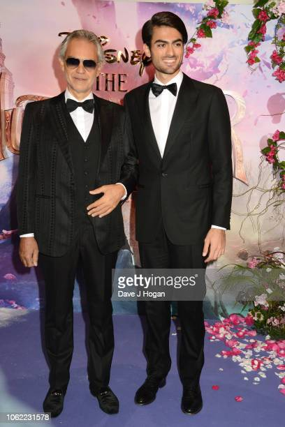 Andrea Bocelli and Matteo Bocelli attend the European Gala Screening of Disney's 'The Nutcracker and The Four Realms' at Vue Westfield on November...