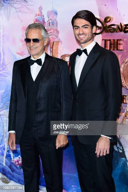 Andrea Bocelli and Matteo Bocelli attend the European Premiere of Disney's 'The Nutcracker' at Vue Westfield on November 01 2018 in London England