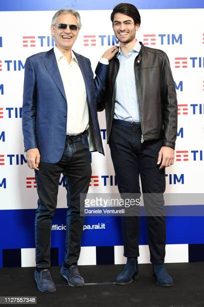 Andrea Bocelli and Matteo Bocelli attends a photocall on the first day of the 69. Sanremo Music Festival at Teatro Ariston on February 05, 2019 in...