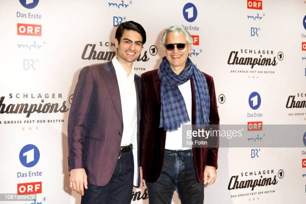 Andrea Bocelli and Matteo Bocelli during the television show 'Schlagerchampions - Das grosse Fest der Besten' at Velodrom on January 12, 2019 in...