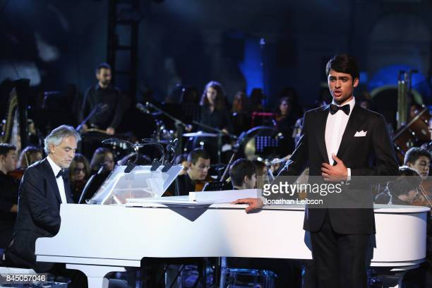 Andrea Bocelli and Matteo Bocelli perform at the Andrea Bocelli show as part of the 2017 Celebrity Fight Night in Italy Benefiting The Andrea Bocelli...