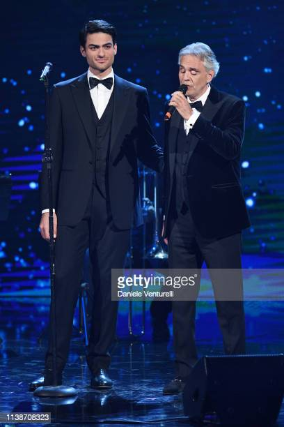 Andrea Bocelli And Matteo Bocelli performs during the 64 David Di Donatello Award Ceremony on March 27 2019 in Rome Italy