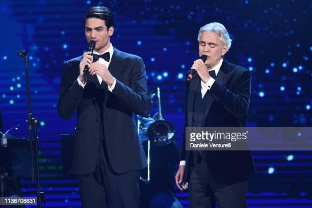 Andrea Bocelli And Matteo Bocelli performs during the 64. David Di Donatello - Award Ceremony on March 27, 2019 in Rome, Italy.