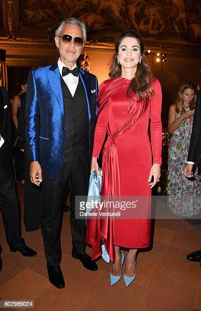 Andrea Bocelli and Queen Rania of Jordan attend the Celebrity Fight Night gala at Palazzo Vecchio as part of Celebrity Fight Night Italy benefiting...