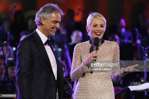 Andrea Bocelli and Sharon Stone attend at the Andrea Bocelli show as part of the 2017 Celebrity Fight Night in Italy Benefiting The Andrea Bocelli...