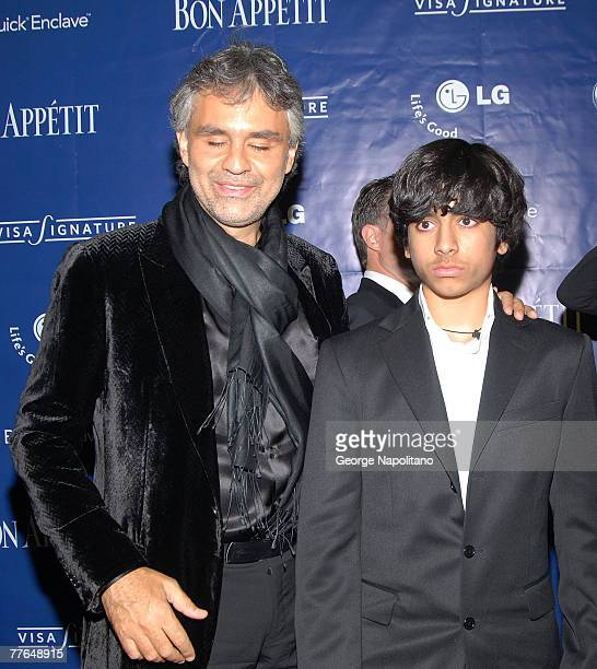 Andrea Bocelli and son Amos Bocelli attend a celebration for Andrea's new CD and PBS special and David Foster's birthday at the Bon Appetit Super...