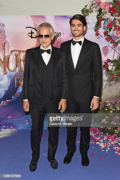 Andrea Bocelli and son Matteo Bocelli attend the European Premiere of Disney's The Nutcracker And The Four Realms at Vue Westfield on November 1 2018...