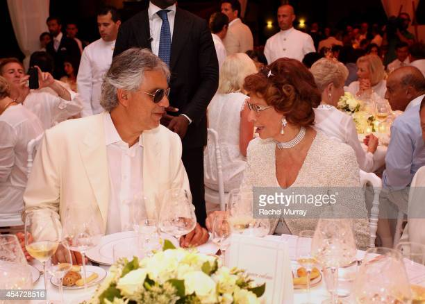 Andrea Bocelli and Sophia Loren attend the white party dinner hosted by Andrea and Veronica Bocelli celebrating Fight Night In Italy benefitting The...
