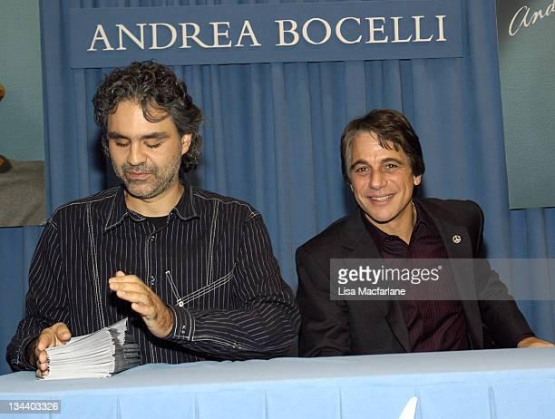 Andrea Bocelli and Tony Danza during Tony Danza Hosts Andrea Bocelli CD Signing - November 17, 2004 at Barnes & Noble in New York City, New York,...