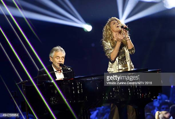 Andrea Bocelli and Tori Kelly on stage during the MTV EMA's 2015 at the Mediolanum Forum on October 25 2015 in Milan Italy