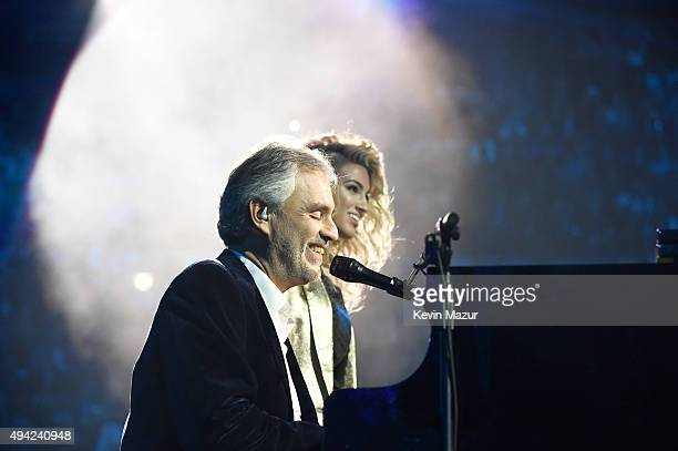 Andrea Bocelli and Tori Kelly perform onstage at the MTV EMA's 2015 at Mediolanum Forum on October 25 2015 in Milan Italy