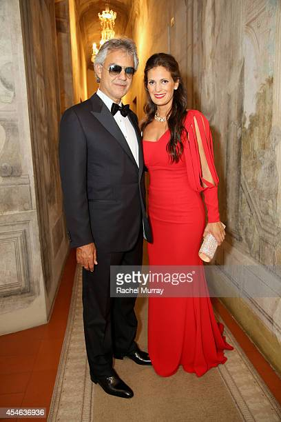 Andrea Bocelli and Veronica Berti attend the cocktail reception held at Palazzo Spini Feroni built in the 13th Century home to the Museo Salvatore...