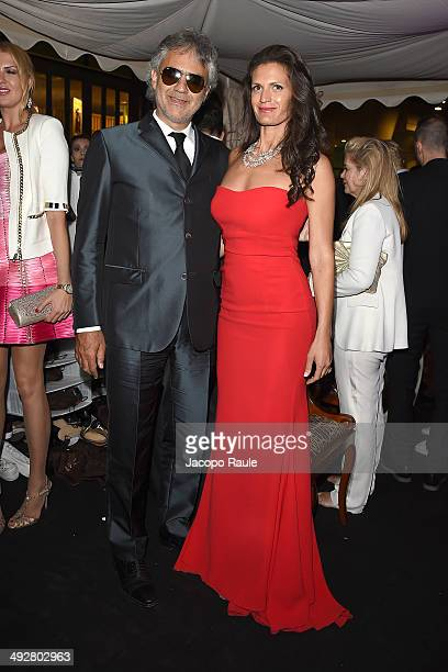 Andrea Bocelli and Veronica Berti attend the Roberto Cavalli Annual Party Aboard Outside Arrivals at the 67th Annual Cannes Film Festival on May 21...