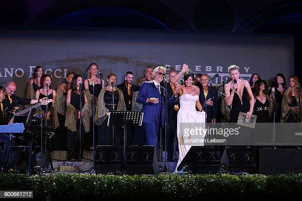 Andrea Bocelli and Veronica Bocelli attend the Basilica di Santa Croce Dinner and Reception as part of Celebrity Fight Night Italy benefitting the...