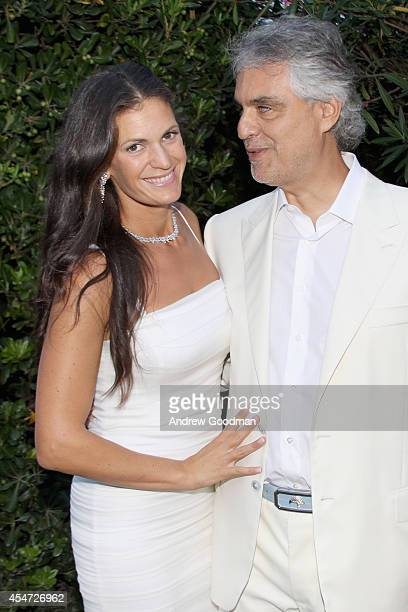 Andrea Bocelli and Veronica Bocelli attend the White Party Cocktail Party Celebrating Celebrity Fight Night In Italy Benefitting The Andrea Bocelli...