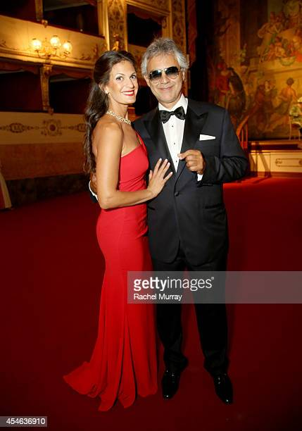 Andrea Bocelli and wife Veronica Bert attend a formal dinner hosted by Stefano Ricci held at The Teatro della Pergola during Celebrity Fight Night In...