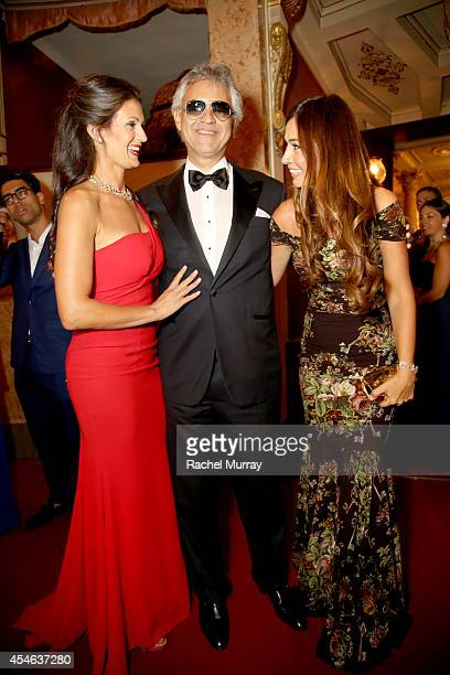 Andrea Bocelli and wife Veronica Bert attend a formal dinner hosted by Stefano Ricci at The Teatro della Pergola during Celebrity Fight Night In...