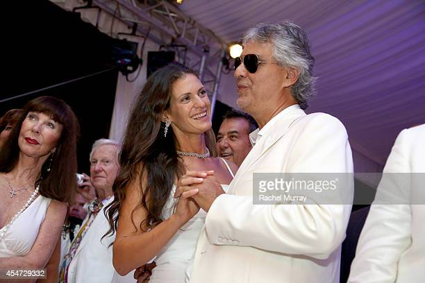 Andrea Bocelli and wife Veronica Berti attend the white party dinner hosted by Andrea and Veronica Bocelli celebrating Fight Night In Italy...