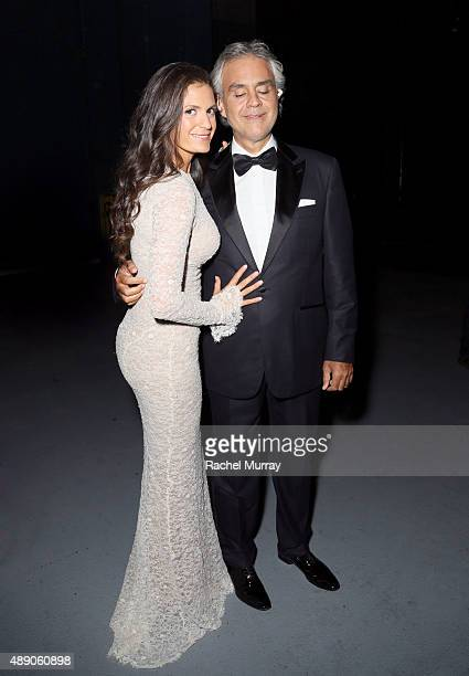 Andrea Bocelli and wife Veronica Berti photographed backstage as Andrea Bocelli gives a onceinalifetime performance at HollywoodÕs Dolby Theatre on...