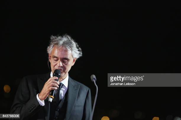 Andrea Bocelli attends at the Rooftop Dinner at the Waldorf Astoria Hotel Cavalieri as part of the 2017 Celebrity Fight Night in Italy Benefiting The...
