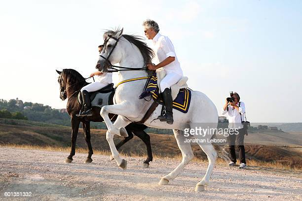Andrea Bocelli attends the apertif at the Teatro del Silenzio as part of Celebrity Fight Night Italy benefiting The Andrea Bocelli Foundation and The...