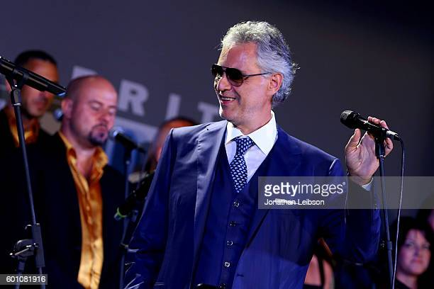Andrea Bocelli attends the Basilica di Santa Croce Dinner and Reception as part of Celebrity Fight Night Italy benefitting the Andrea Bocelli...