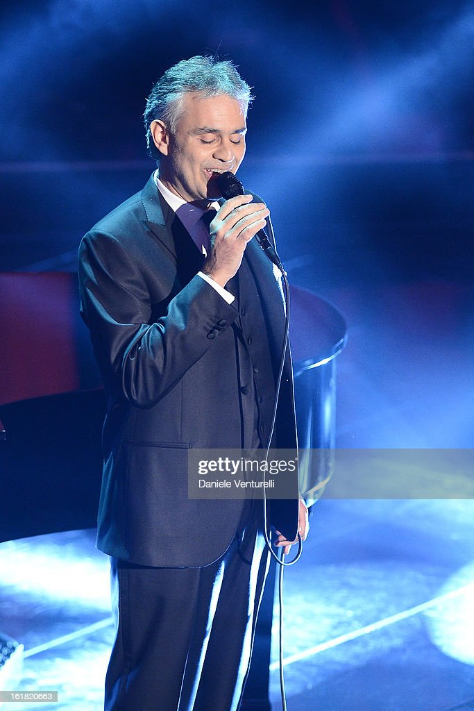 Andrea Bocelli attends the closing night of the 63rd Sanremo Song Festival at the Ariston Theatre on February 16, 2013 in Sanremo, Italy.