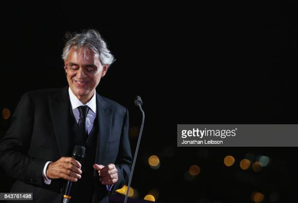 Andrea Bocelli attends the Rooftop Dinner at the Waldorf Astoria Hotel Cavalieri as part of the 2017 Celebrity Fight Night in Italy Benefiting The...