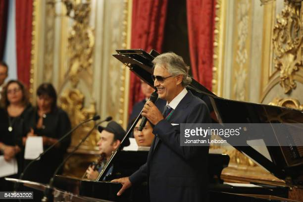 Andrea Bocelli attends the Tour and Welcome Drinks at Palazzo del Quirinale as part of the 2017 Celebrity Fight Night in Italy Benefiting The Andrea...