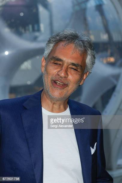 Andrea Bocelli attends the Vhernier launch with Andrea Bocelli in Design District on April 24 2017 in Miami Florida