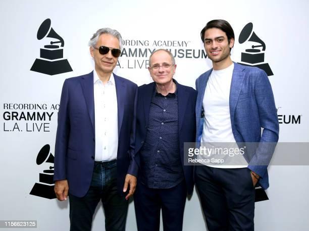 Andrea Bocelli, Bob Ezrin and Matteo Bocelli attend A Conversation With Andrea Bocelli, Matteo Bocelli, & Bob Ezrin at the GRAMMY Museum on June 17,...
