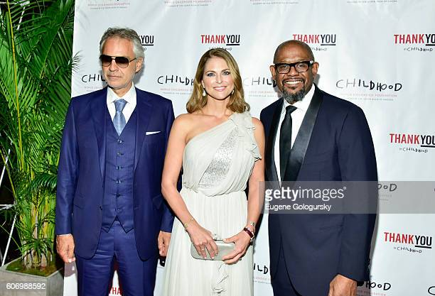 Andrea Bocelli HRH Princess Madeleine and Forest Whitaker attend the World Childhood Foundation USA Thank You Gala 2016 at Cipriani 42nd Street on...