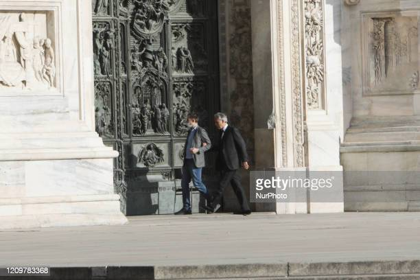 Andrea Bocelli is seen during the rehearsals of his exclusive concert inside the Duomo of Milan April 12 2020