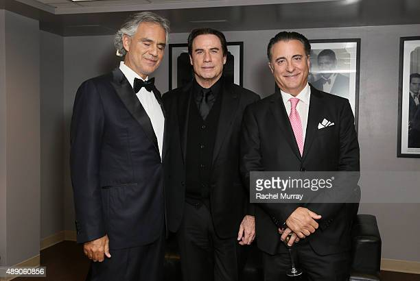Andrea Bocelli John Travolta and Andy Garcia backstage before Andrea Bocelli gives a onceinalifetime performance at HollywoodÕs Dolby Theatre on...