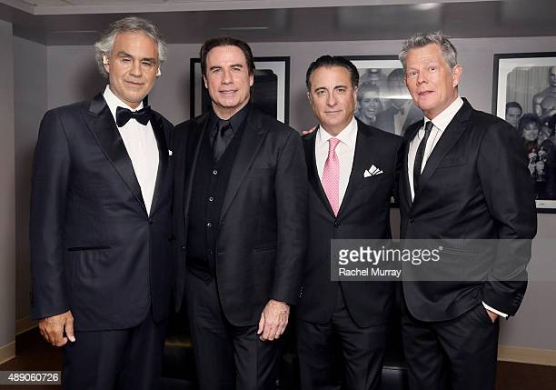 Andrea Bocelli John Travolta Andy Garcia and David Foster backstage before Andrea Bocelli gives a onceinalifetime performance at HollywoodÕs Dolby...