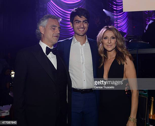Andrea Bocelli Matteo Bocelli and Celine Dion backstage during the 19th annual Keep Memory Alive 'Power of Love Gala' benefit for the Cleveland...