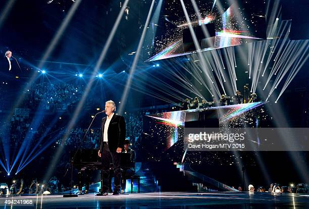 Andrea Bocelli on stage during the MTV EMA's 2015 at the Mediolanum Forum on October 25 2015 in Milan Italy