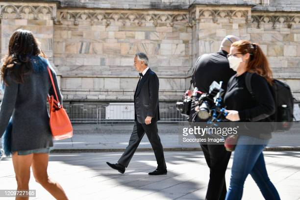 Andrea Bocelli outside the Duomo Cathedral of Milan before the start of the concert On Easter day the icon of Italian music in the world will perform...