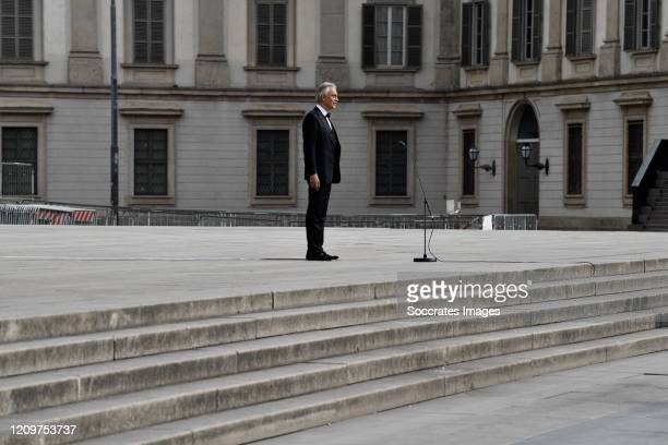 Andrea Bocelli outside the Duomo Cathedral of Milan during the concert On Easter day the icon of Italian music in the world will perform alone to...