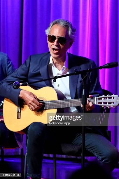 Andrea Bocelli performs at A Conversation With Andrea Bocelli, Matteo Bocelli, & Bob Ezrin at the GRAMMY Museum on June 17, 2019 in Los Angeles,...