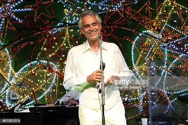 Andrea Bocelli performs at a dinner and reception at Andrea Bocelli's country home as part of Celebrity Fight Night Italy benefiting The Andrea...