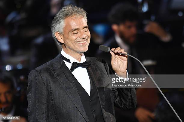 Andrea Bocelli performs at Bocelli and Zanetti Night on May 25, 2016 in Rho, Italy.