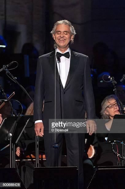 Andrea Bocelli performs at Madison Square Garden on December 9 2015 in New York City