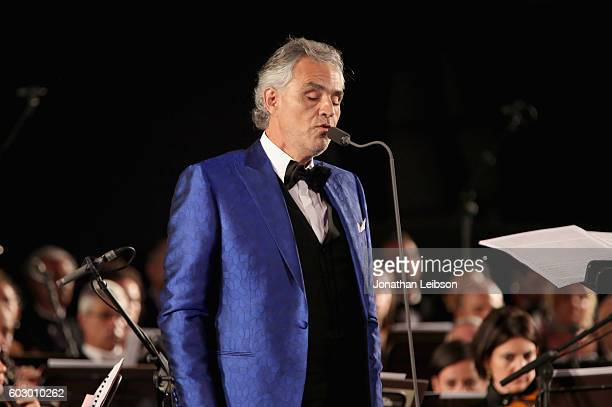 Andrea Bocelli performs during the Celebrity Fight Night gala at Palazzo Vecchio as part of Celebrity Fight Night Italy benefiting The Andrea Bocelli...
